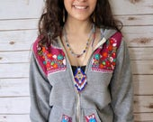 Gray Maroon Red Embroidered Flower Eco Chic Bohemian Hippie Upcycled Zip Up Hoodie Hooded Sweatshirt Sweater Festival Size Small/Medium
