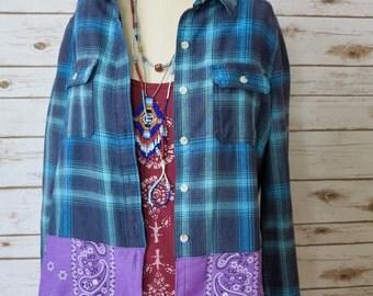 Purple Blue Plaid Bandana Hem Button Up Blouse Lagenlook Hippie Boho Upcycled Recycled Shirt OOAK Bohemian Top Blouse Womens Size Large