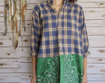 Sage Blue Plaid Bandana Hem Button Up Blouse Lagenlook Hippie Boho Upcycled Recycled Shirt OOAK Bohemian Top Blouse Womens Size XL