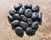 NATURAL Beach STONE Beads Top Drilled Lake Stones Charms