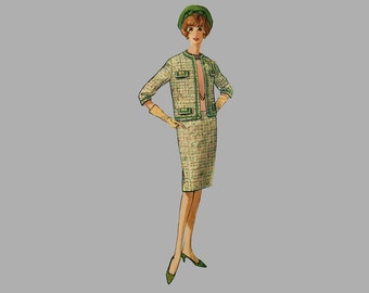1960 Suit Pattern, Simplicity 4598, Bust 34, Straight skirt/back kick pleat/waistband, Lined jacket, French designer looking, UNCUT