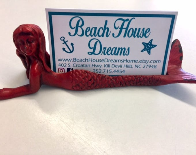2 Mermaid business card holders  beach wedding decor place card holders mermaid lover coastal decor BeachHouseDreams Outer Banks