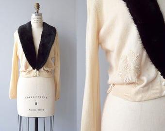 Mink and Cashmere cardigan | vintage 1950s cashmere sweater | mink collar 50s cardigan