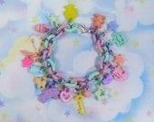 Fairy kei chunky plastic charm bracelet - pastel rainbow charms