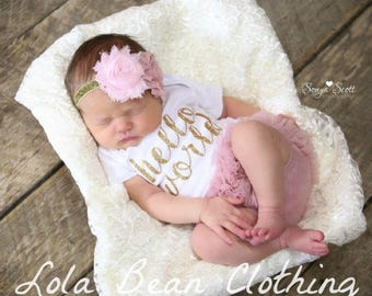 Baby Girl Take Home Outfit Newborn Hello World Bodysuit Bloomers Headband Set Dusty Rose Pink
