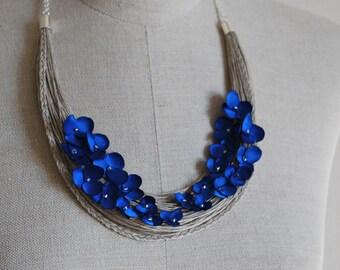 OOAK Linen Necklace. AMELIA.  Linen Jewelry. Wearable Fibre art. Ready to ship.