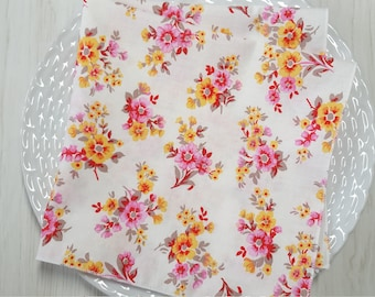 Cloth Napkins Floral Grey Pink Peach White Set of 4
