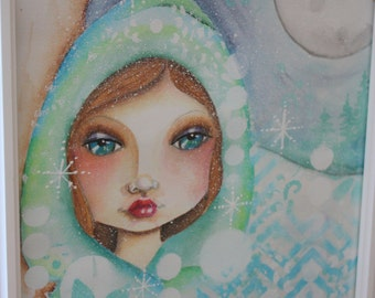 WINTER BLISS  9 x 12  ORIGINAL on  140 lb. watercolor paper