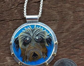Custom pet portrait necklace, cloisonne enamel pet portrait neckace