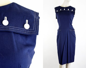 Vintage Kahn of Minneapolis Navy Blue Sailor Style Tailored Woman's Retro Sleeveless Day Dress