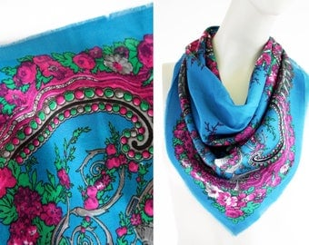 Vintage Teal and Pink Floral Print Classic 80's Retro Square Scarf