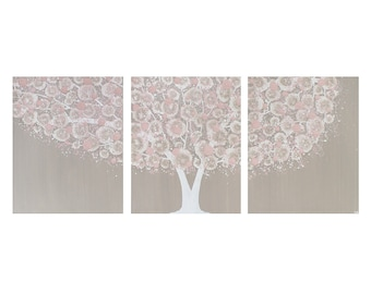 Girl Nursery Decor Art Tree Painting Triptych Canvas - Warm Gray and Pink - Large 50x20