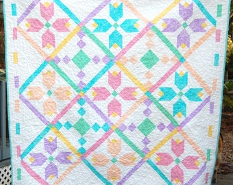 Beautiful Handmade Baby Girl Quilt, Colorful Handmade Baby Girl Quilt