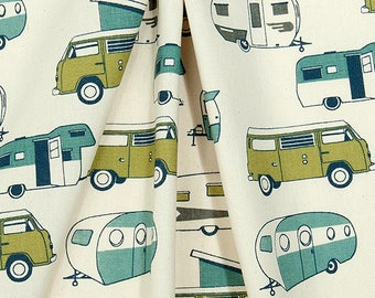 Vintage Camper Valance, Felix Natural, Blue and Green on Natural, Premier Prints, Choose Size 52x16, 52x18 or 52x20