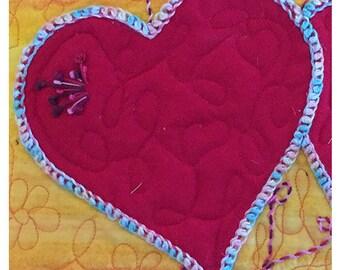 Art Quilt - Heart Art - Heart Artwork - Heart Wall Art - Heart Wall Decor - Wedding Gift - Red Wall Art - Yellow Wall Decor - Two Hearts