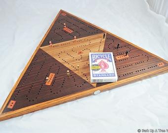 Triangle 3 Player Race Cribbage Board -  Peruvian Walnut & Zebrawood