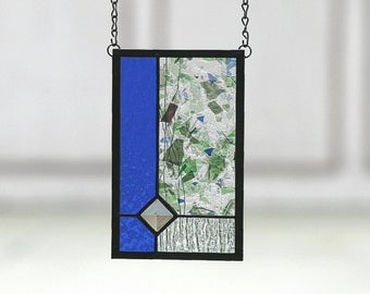 WATER GARDEN - Abstract Stained Glass Suncatcher, Stain Glass, Sun Catcher, Cobalt Blue, Blue, Purple, Green, Garden, Water, Ready to Ship