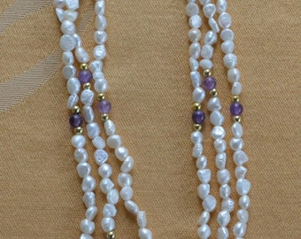"""On Sale Pretty Vintage Freshwater Pearl, Amethyst Beaded Necklace, 18"""" (J14)"""