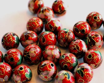 12mm Red Floral Cloisonne Beads