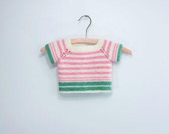 Vintage Baby Sweater Striped Baby Sweater Pink White Sweater Stripe Infant Knit Baby Striped Top Pink Stripe Baby Spearmint Stripe 18 - 24 m