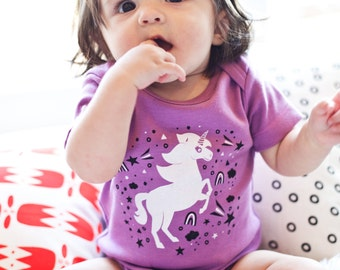 Unicorns are Magic - organic cotton baby bodysuit- fun shower present for baby girl, cute baby clothing, special present for baby