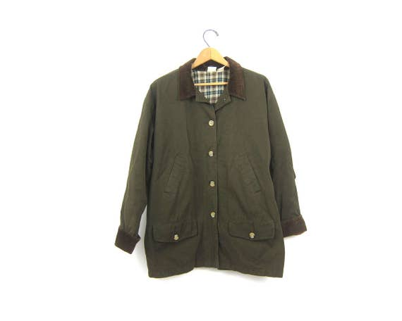 Army Green Cotton Barn Coat Preppy Chore Jacket Ranch Coat Oversized Spring Parka Coat Corduroy Collar Women's Size Small