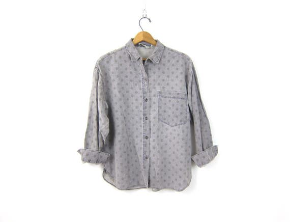 Faded Purple Shirt Long Sleeve POLKA DOT Blouse Button Up Cotton Shirt Basic Washed Out Hipster Tee Casual Pocket Top Womens Medium
