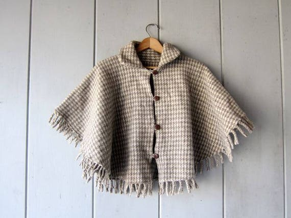 Natural Wool Cape Coat Non Dyed Sheep Wool Cloak Fringed Cape Vintage Cropped Wool Jacket Blanket Coat Button Up Poncho Womens Small Medium