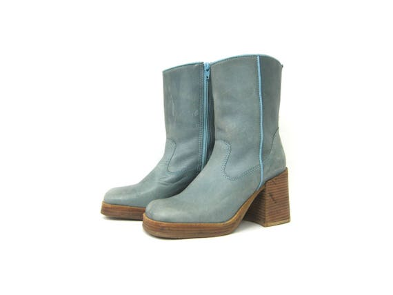 Smoky Blue Leather chunky Ankle boots vintage 90s Mid Calf boots High Heel Chelsea boots woman's Side Zipper Shoes Womens size 7