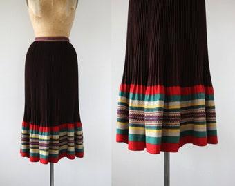 vintage 1930s skirt / 30s accordion pleat skirt / 30s brown wool skirt / 30s wool striped skirt / flared skirt / 28 29 30 waist large