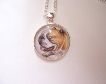Bulldog necklace, Miniature original dog drawing, wearable art jewellery, pet dog gift, dog pendant art necklace, silver pet jewelry