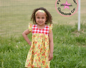 Country Farm Collection Gingham and Cherry Clara Flutter Sleeve Dress - Available in sizes 12 mos girls size 10 infants .toddlers  girls