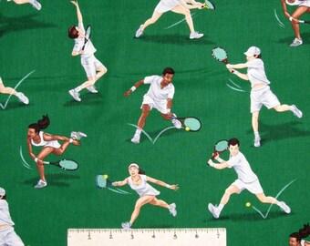 Sports Fabric - Tennis Player Toss on Dark Green - Timeless Treasures YARD