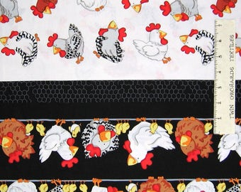 Fowl Play Fabric - Farm Chicken Hen Double Border - Benartex Kanvas YARD