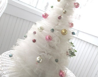 Vintage White Tulle Christmas Tree * Shabby Chic * Cottage * Pink * Silver * Aqua * Ornaments * Bulbs
