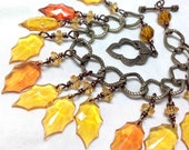Autumn Leaves Bracelet - Reserved for LORNA Golden Orange Amber Honey Mustard Sparkle - Fall Leaf Charm Bracelet on antiqued brass chain