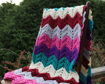 Mulit Color Chevron Stripe Handmade Afghan Purple Grey Burgundy Teal Fuchsia Lap Afghan