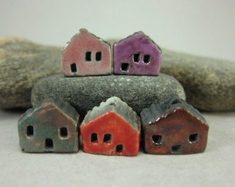 5 Saggar Fired Miniature House Beads...Pink Purple Copper Blue Red Metallic Copper