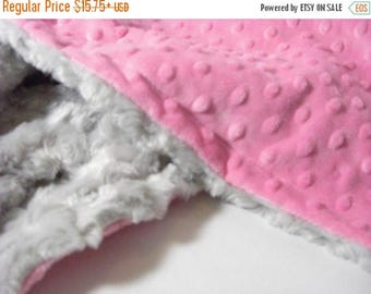 ON SALE Hot Pink and Gray Minky Baby Blanket - Silver Gray -  Personalized, Minky Adult Blanket Can Be Personalized