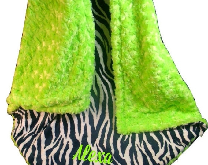 SALE Kiwi Lime Green and Black Zebra Minky Baby Blanket, 3 SizesCan Be Personalized