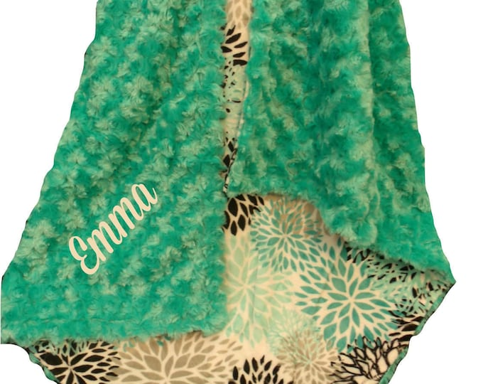 Personalized Breeze Teal and Gray Rosebud Swirl Floral Pattern Minky Baby Blanket,