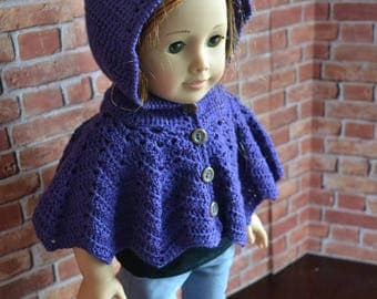 18 inch Doll Clothes - Crocheted Hooded Poncho Sweater - Purple Violet - MADE TO ORDER - fits American Girl