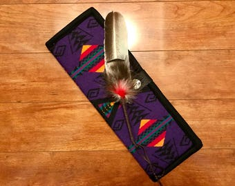 Feather Holder / Feather Case XL Wool  Southwestern Geometric Tribal Handcrafted Using Fabric from Pendleton Woolen Mill