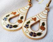 Vintage Long Boho Cloisonne Earrings Floral on White Enamel