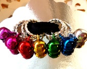 LAST FULL Set - 7 KNITTING Stitch Markers - Jingle Bell Holiday Markers - Pretty Colorful Bells Markers - Christmas Stocking Stuffer Gift