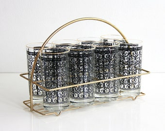 Mid Century Modern Glasses with Carrier / Mid Century Black and Gold Glasses with Caddy / Vintage Starlyte Madrid Scroll Glasses and Carrier
