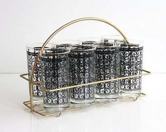Mid Century Modern Glasses with Carrier / Mid Century Black and Gold Glasses with Caddy / Mid Century Glassware / Metal Drink Carrier