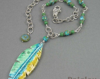 Parrot feather necklace, blue green polymer clay pendant on beaded silver chain