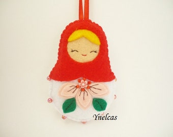 Matryoshka felt doll ornament in  red and white babushka  russian felt ornament  with beads