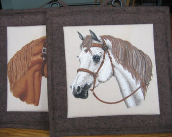 Quilted Pot Holders with Horses - Set of 2